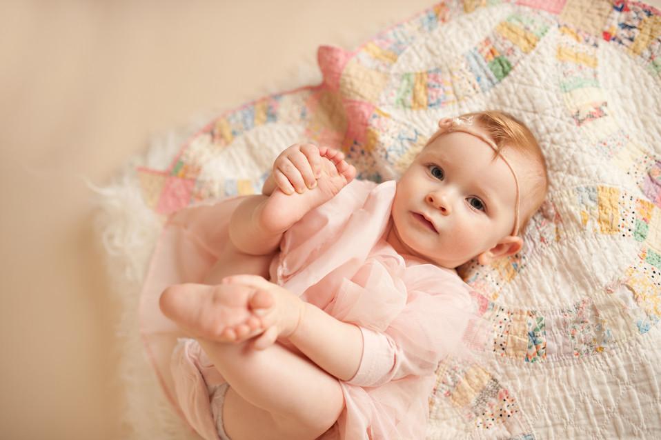 neutrals pink vintage quilt studio milestone birthday 6 months