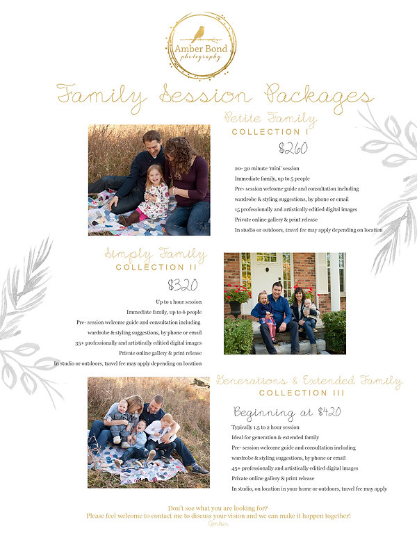 Amber Bond Photography 2018 Family Packa