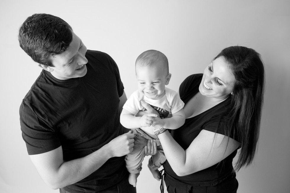 first birthday black and white birthday fun in studio