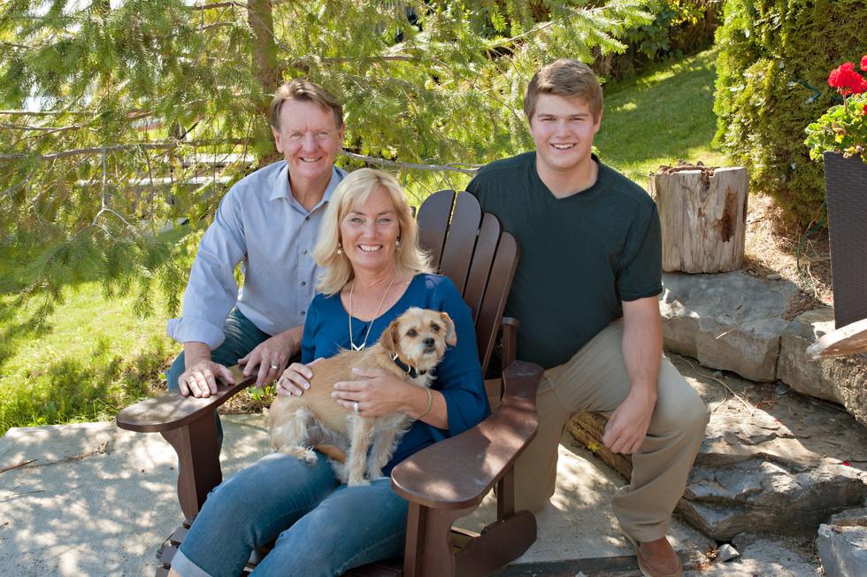 family of 3 family dog outdoor anniversary