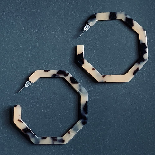faux tortoise shell octagonal hoop earrings