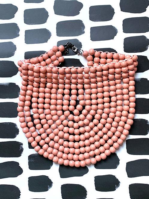 pink wood bead collar
