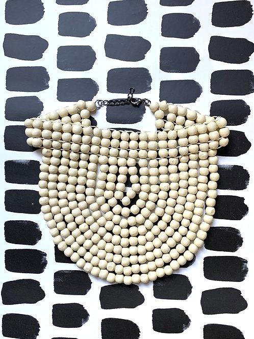almond white wood bead collar