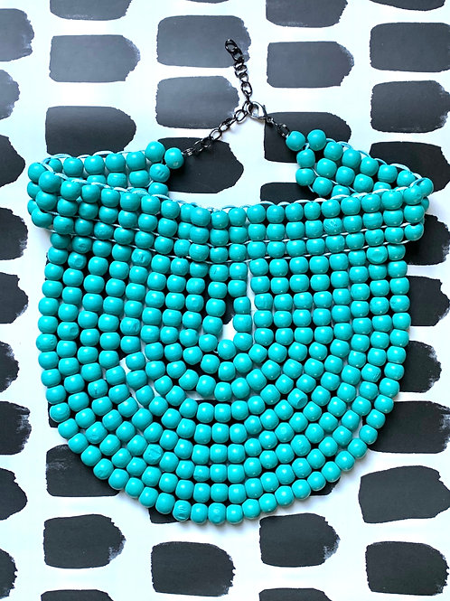 turquoise wood bead collar
