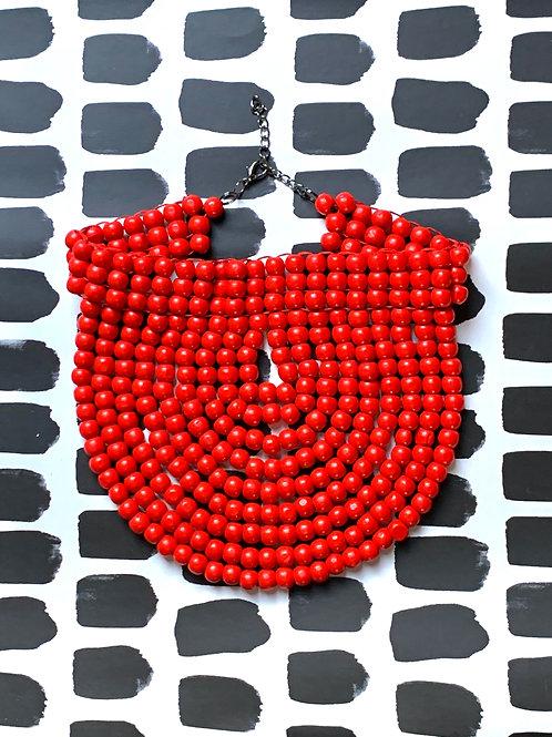 bright red wood bead collar