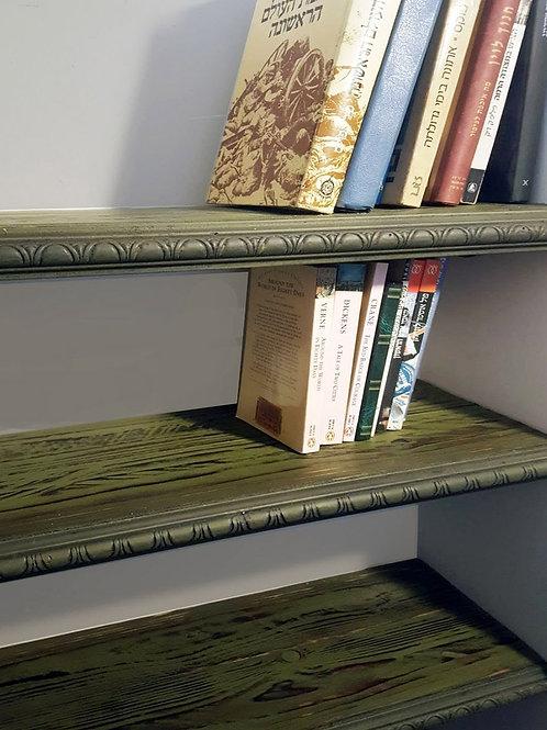 מדפי עץ מלא וינטג' עם שוליים מסוגננים