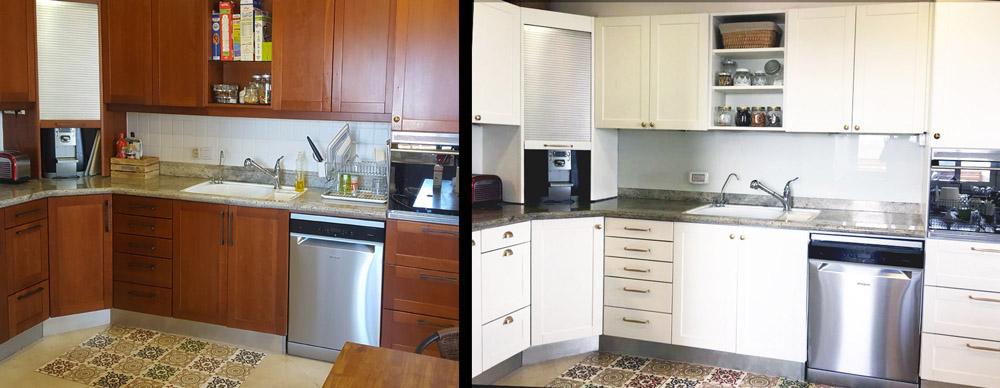 ליאורה רמת אביב - מטבח לפני ואחרי חידוש _ מעצבע