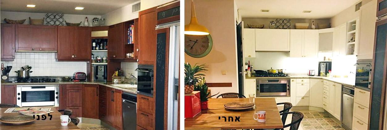 מטבח רמת אביב - מעצבע - לפני ואחרי חידוש