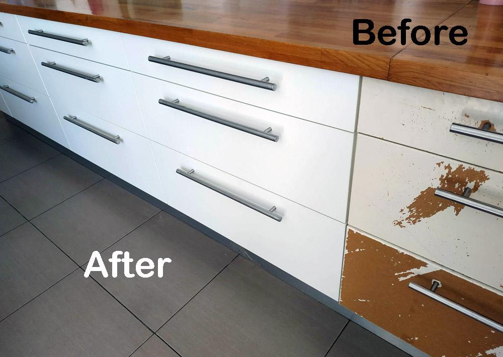 מטבח רמת השרון לפני ואחרי - מעצבע