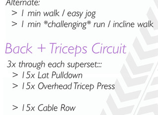 Treadmill + Back & Triceps {Workout of the Week}