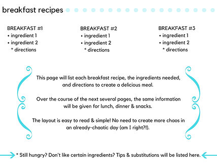 example of meal plan
