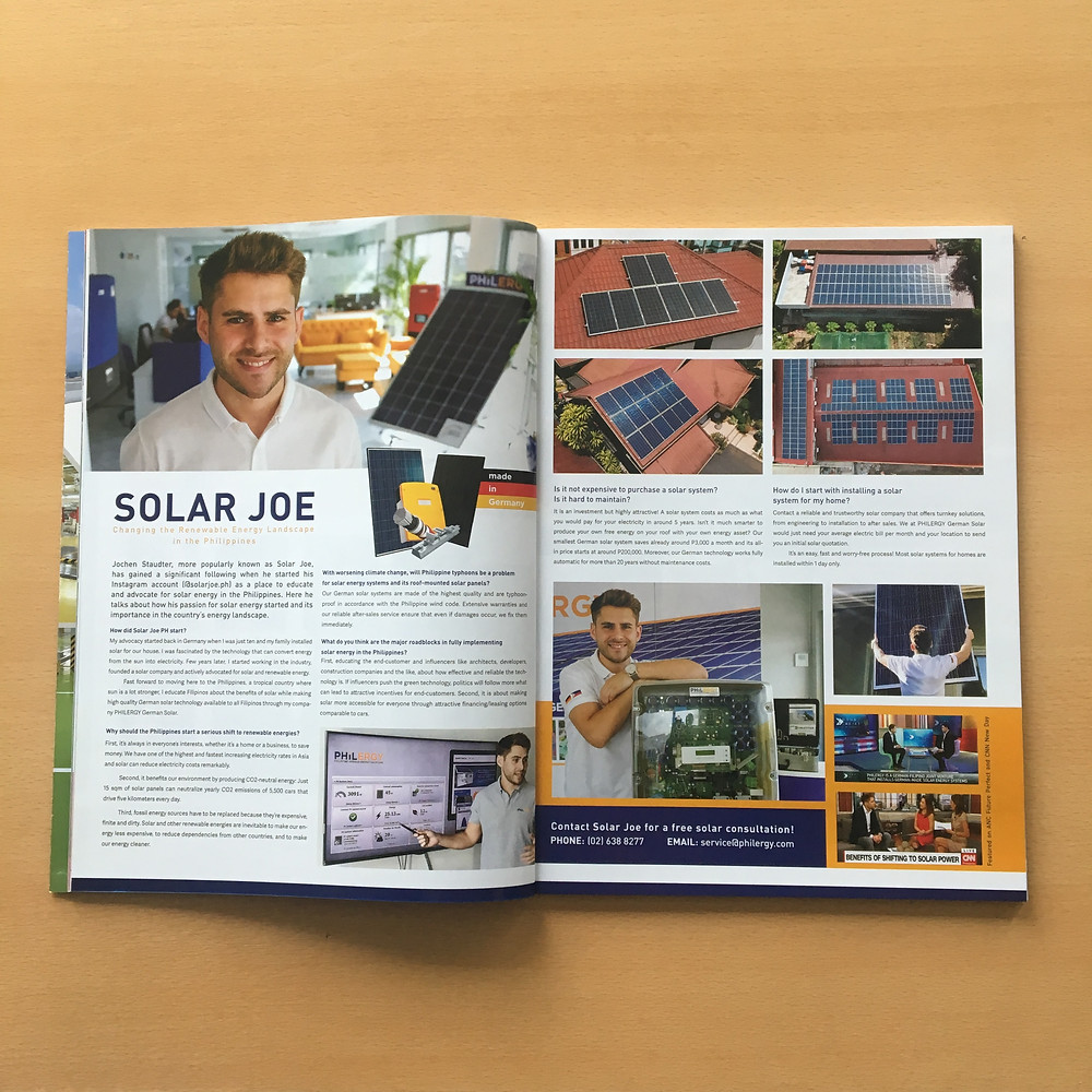 PHILERGY German Solar for homes and businesses  - Solar Joe PH in DC Magazine - High quality installer for solar power systems and top rated panel packages for residential, commercial and industrial roofs in the Philippines