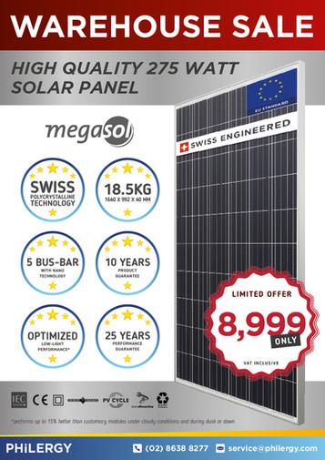 SALE: Megasol 275W Solar Panel - High quality Swiss engineering