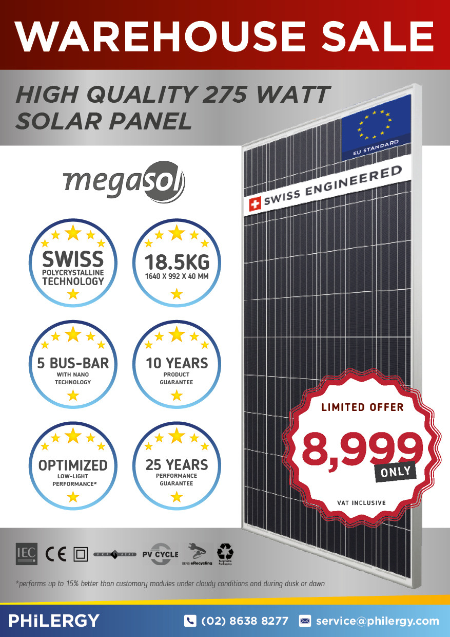 PHILERGY German Solar for homes and businesses  - Megasol Warehouse Sale - High quality installer for solar power systems and top rated panel packages for residential, commercial and industrial roofs in the Philippines