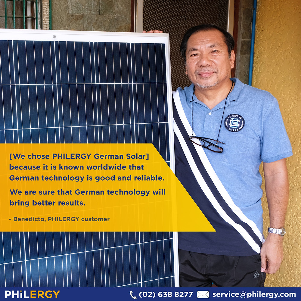 PHILERGY German Solar for homes and businesses  - Cut your electric bill and save thousands! - High quality installer for solar power systems and top rated panel packages for residential, commercial and industrial roofs in the Philippines
