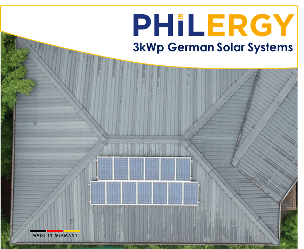PHILERGY German Solar for homes and businesses  - 3kwp solar system - High quality installer for solar power systems and top rated panel packages for residential, commercial and industrial roofs in the Philippines