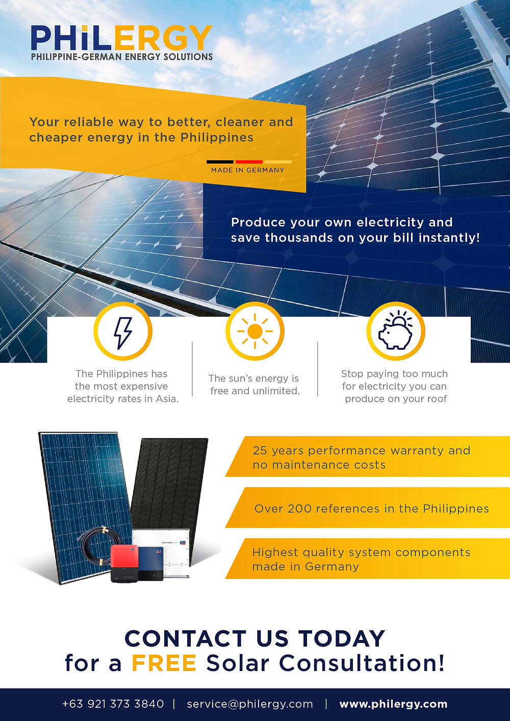 PHILERGY German Solar for homes and businesses  - High quality complete solar power installer and top rated panel packages for residential, commercial and industrial roofs in the Philippines
