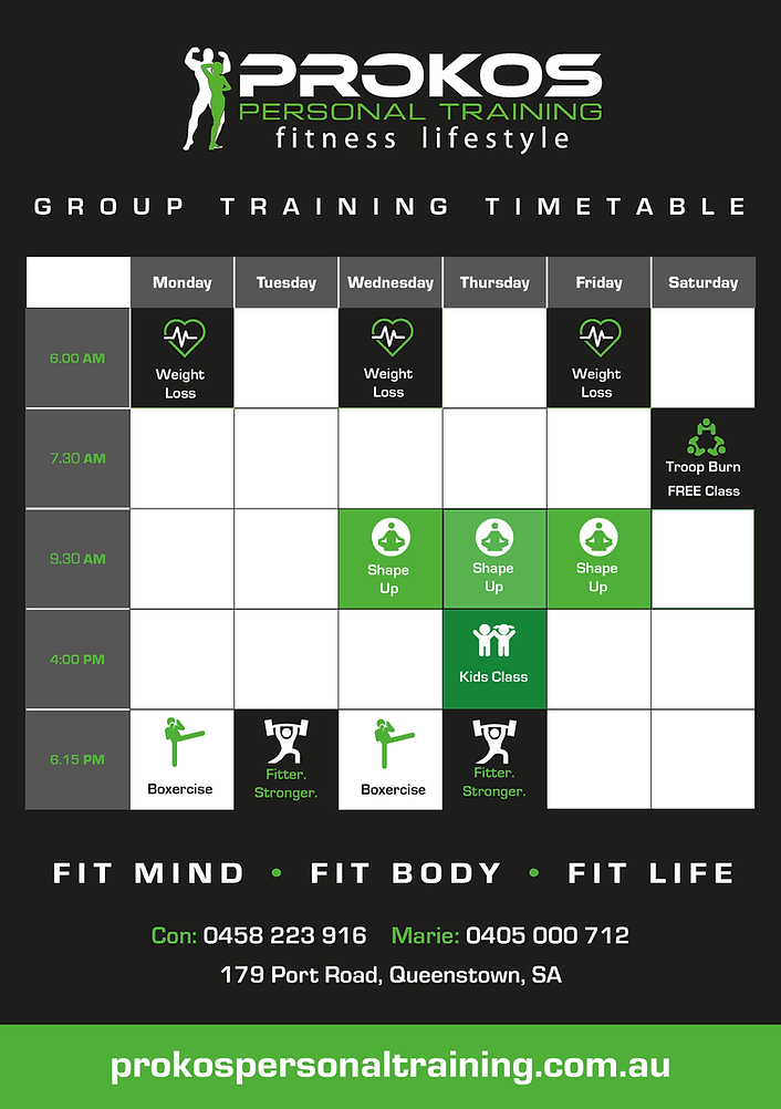 Prokos Gym Timetable