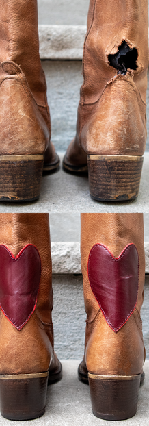Heart Patch on Boots Restoration