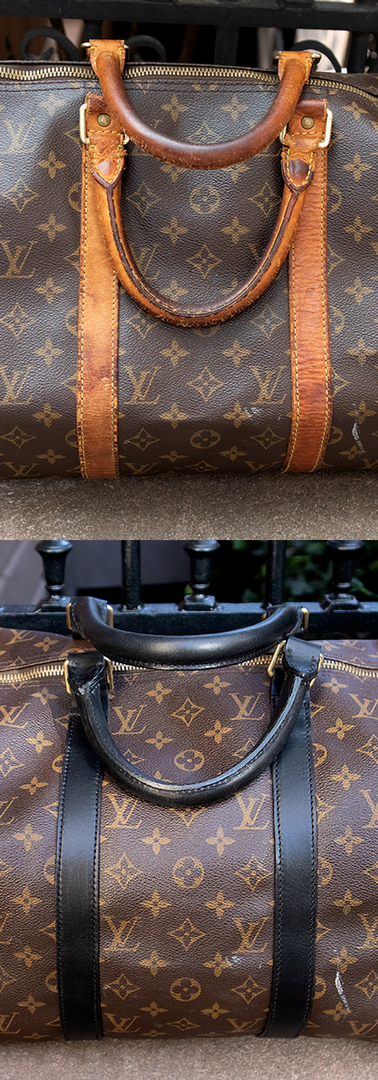 Louis Vuitton Duffle Bag Leather Restoration (Color Change to Black)