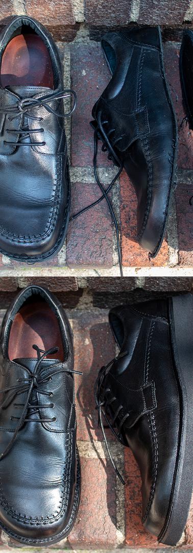 Custom Sole Restoration on Black Leather Shoes