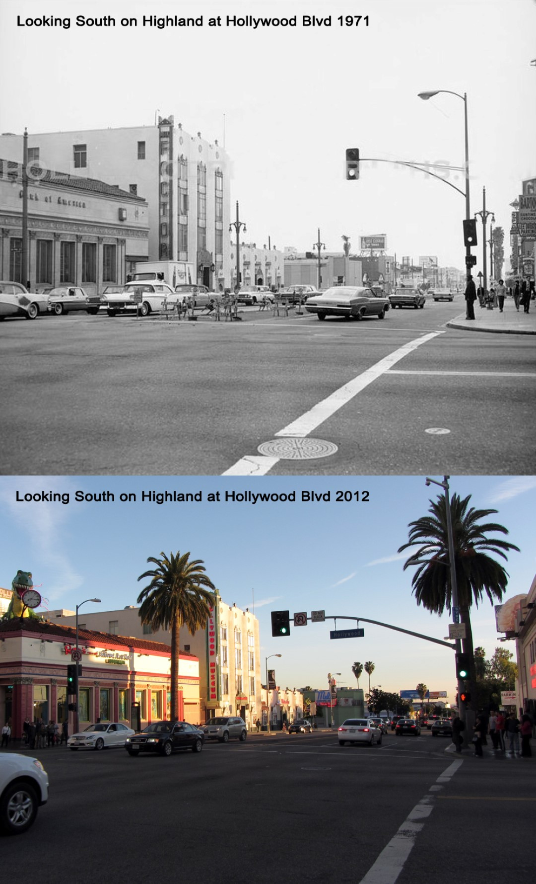 Looking south on Highland Ave. from Hollywood 1971 - 2012