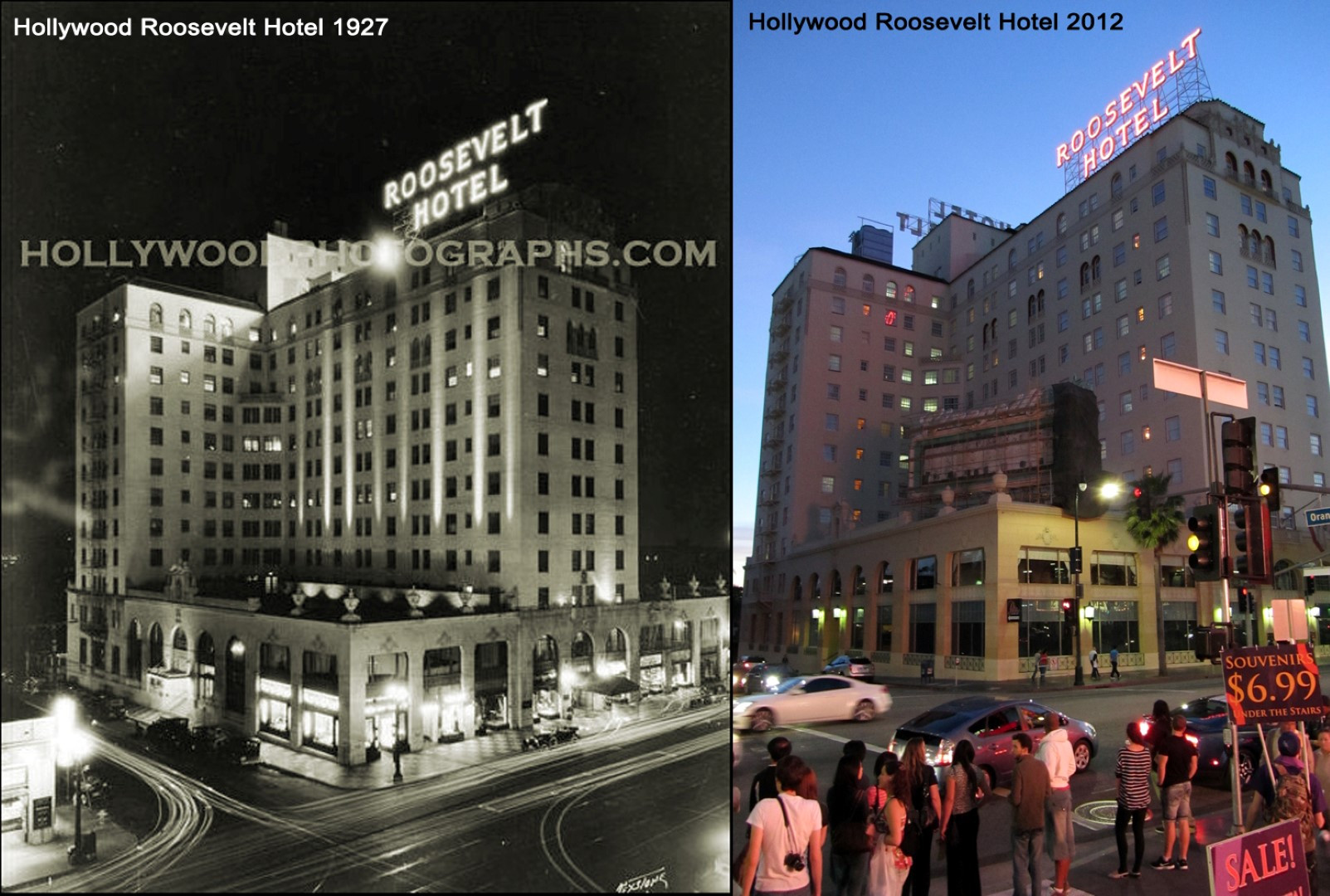 Hollywood Roosevelt Hotel 1927 & 2012