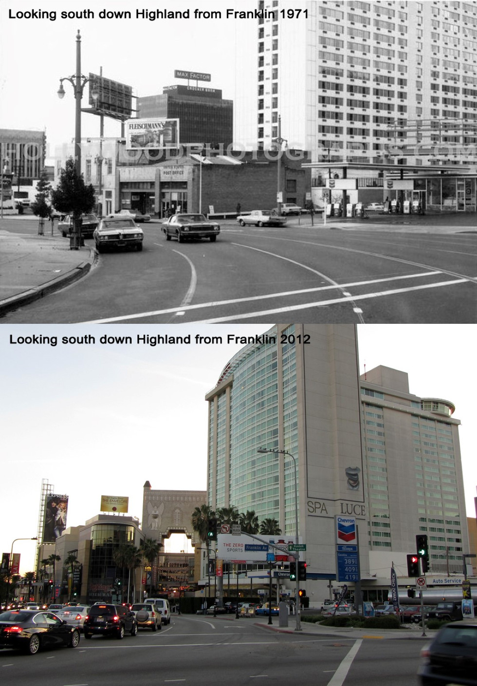Looking south down Highland from From Franklin 1971 - 2012