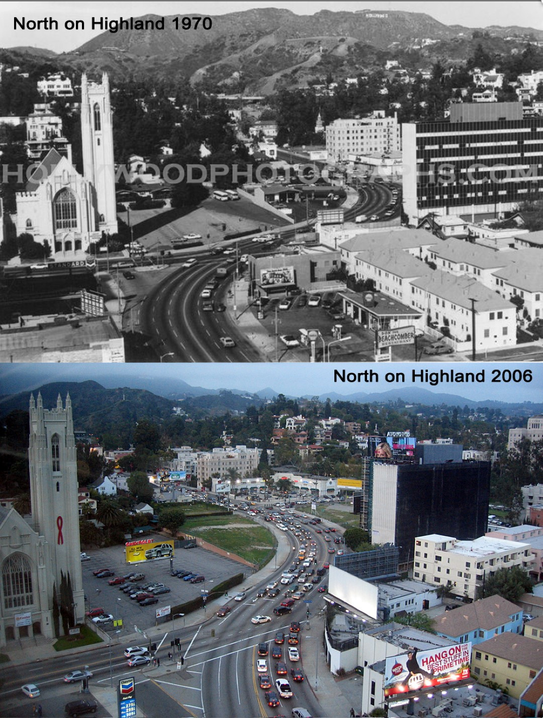 North on Highland 1970 & 2006