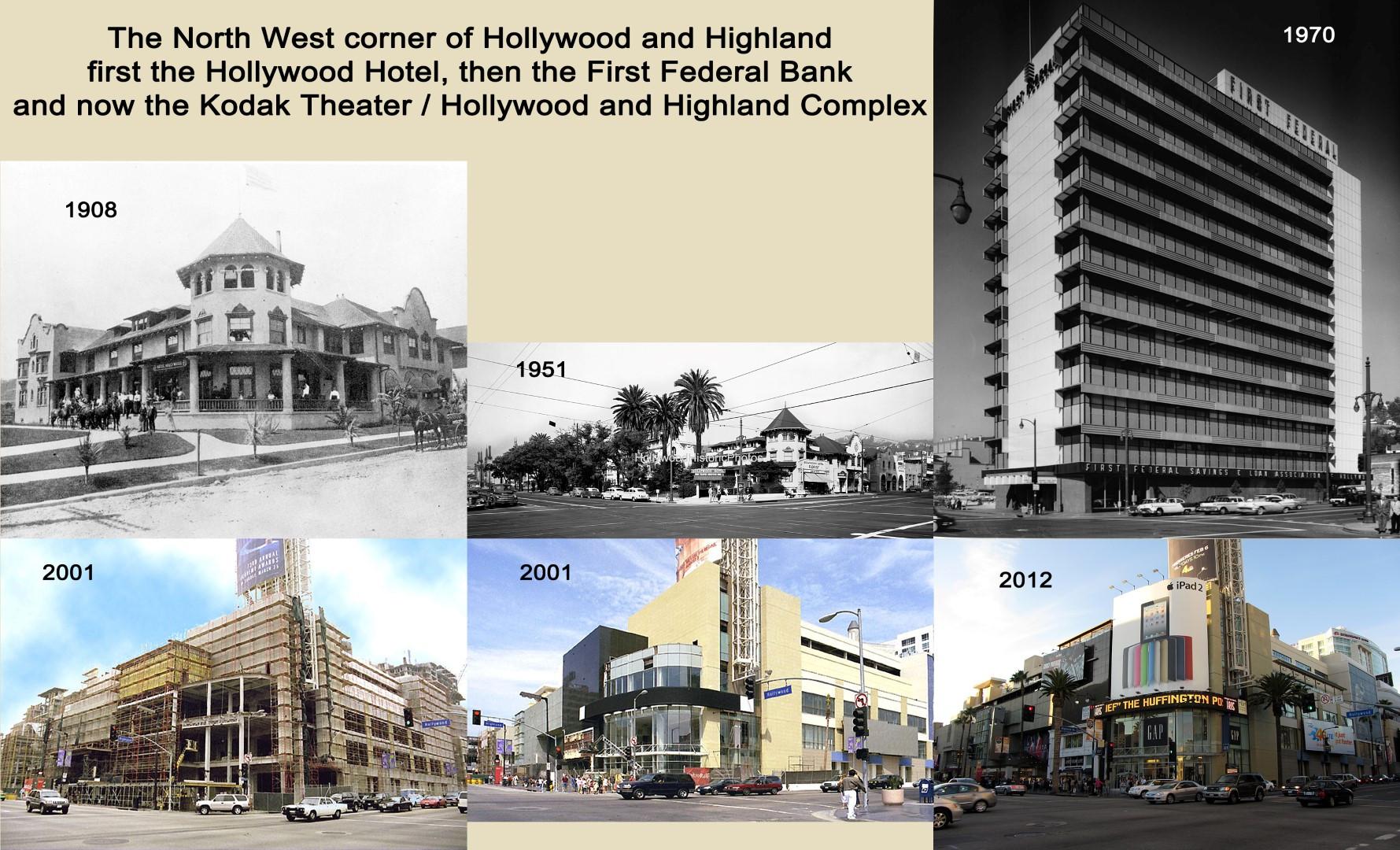 NW corner Hollywood and Highland 1908 - 2012