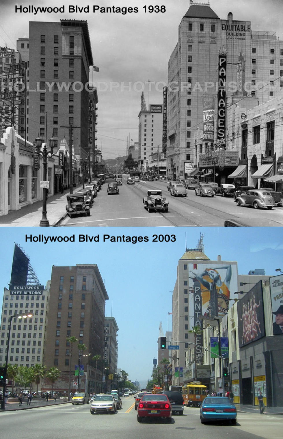 Hollywood blvd Pantages 1938 & 2003