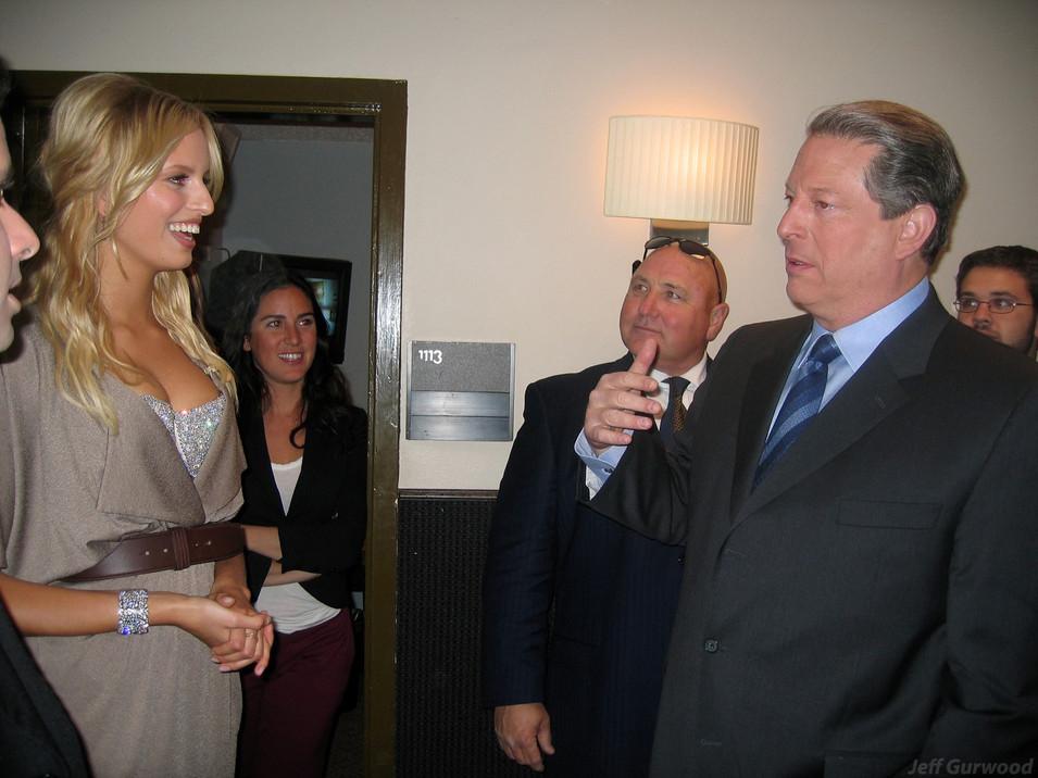 Karolina Kurkova and Al Gore The Tonight Show with Jay Leno BTS 2006