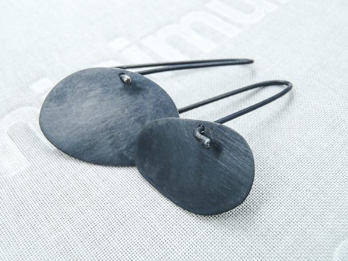 blued contemporary irregular asymmetrical earrings