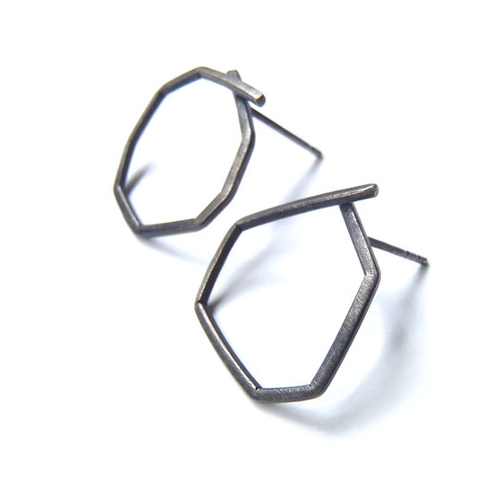 Small polygon stud empty mismatched earrings!