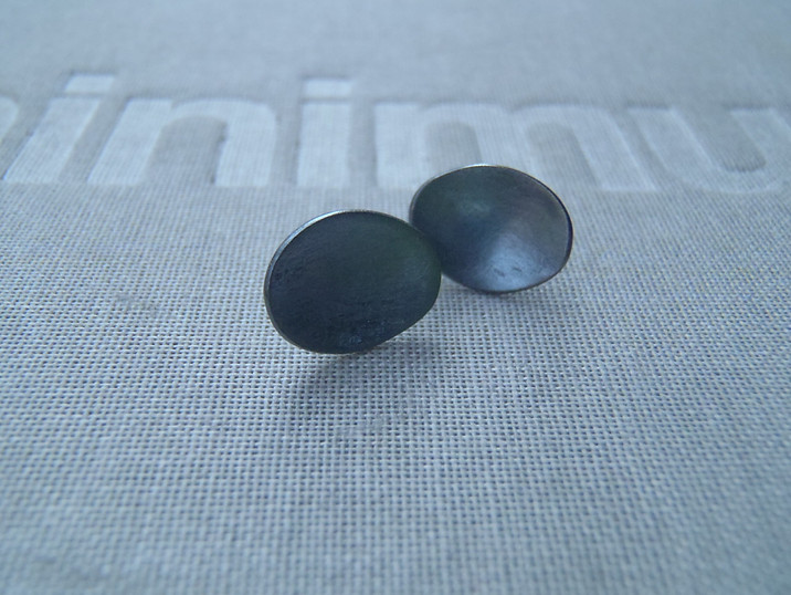 tiny blued concave stud earrings