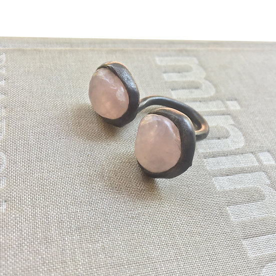 Open ring with two pink quartz stones!