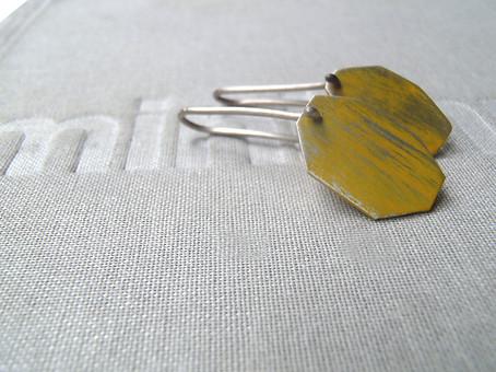 polygon patina drop earrings