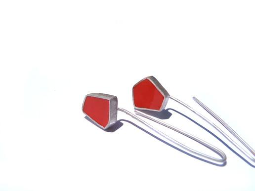 silver + resin polyhedron earrings 02