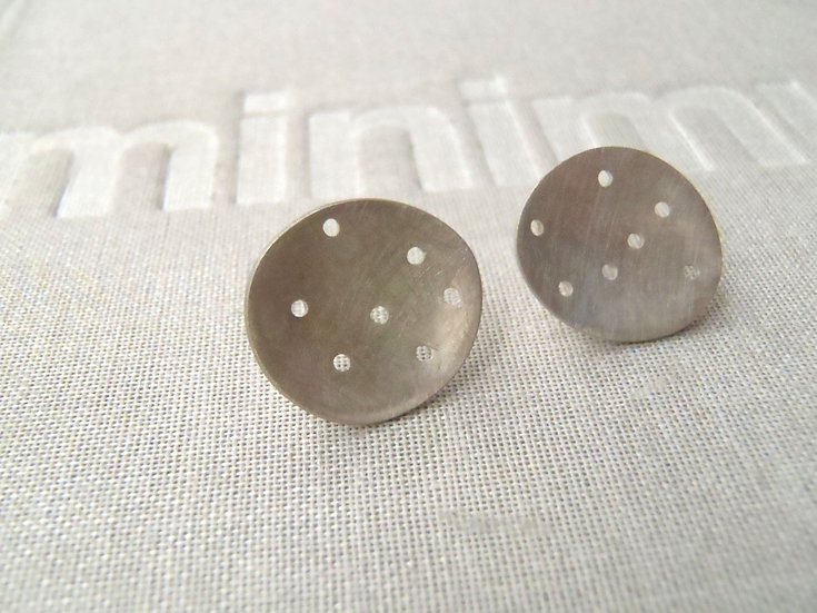 Concave perforated brushed or blacked sterling earrings minimal studs!