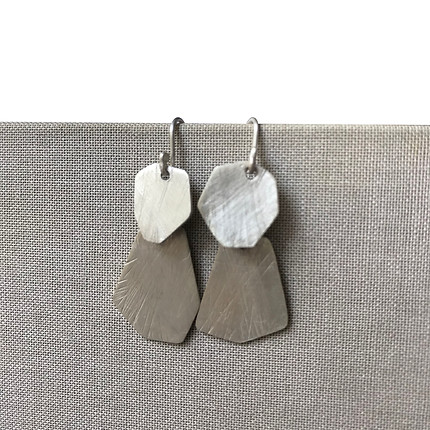 small articulated textured polygonal earrings