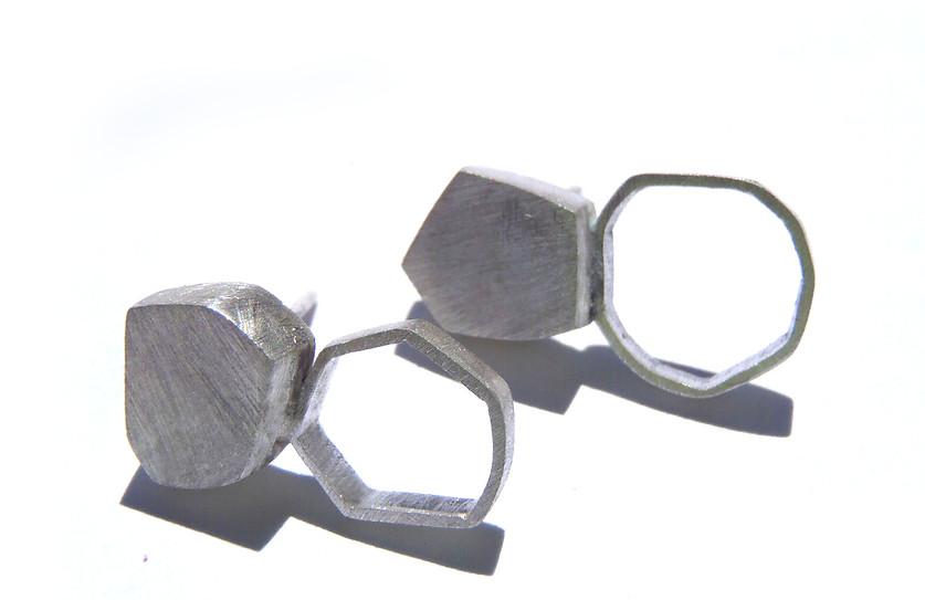double polyhedron post earrings
