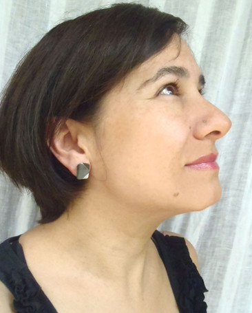 blued mismatched origami earrings