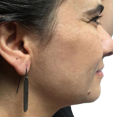 black long drop polygon earrings