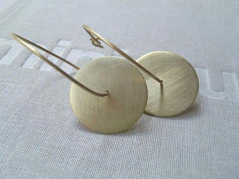 brass hoop discs earrings