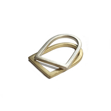 brass slim bezel U rings