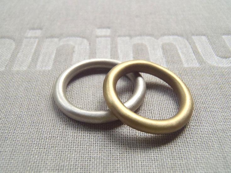 Set de anillos sólidos dona unisex en plata y latón mate
