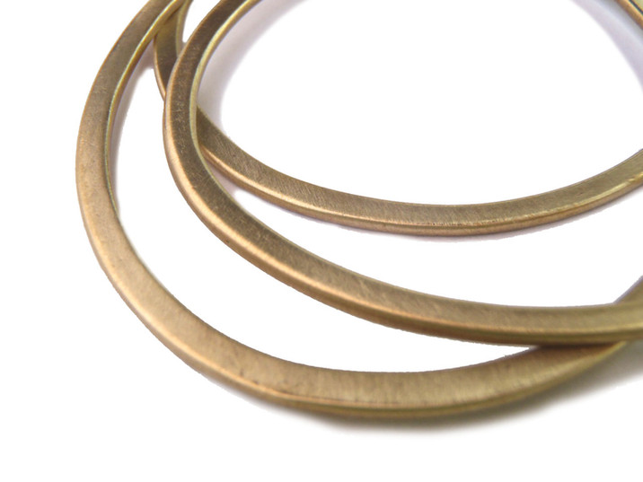 flat oval bracelets in brass