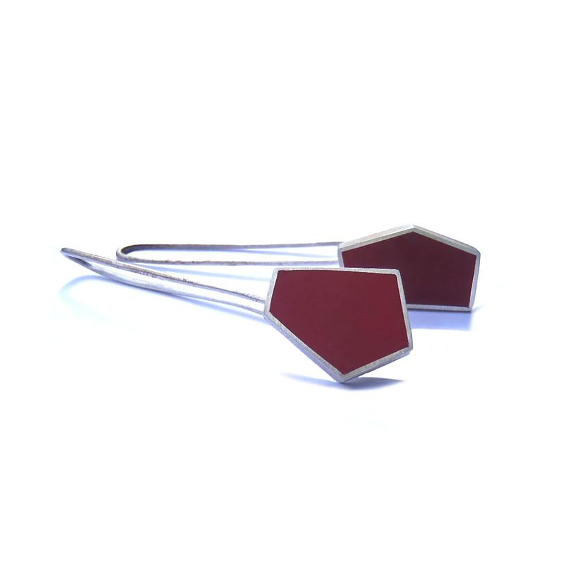 silver polyhedron earrings + resin 01