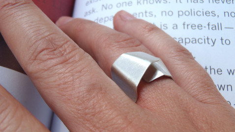 wide origami open ring
