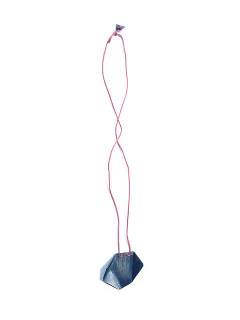 blued origami pendant